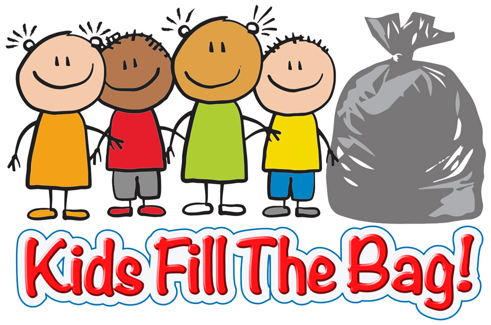 Kids fill the bag clothes recycling